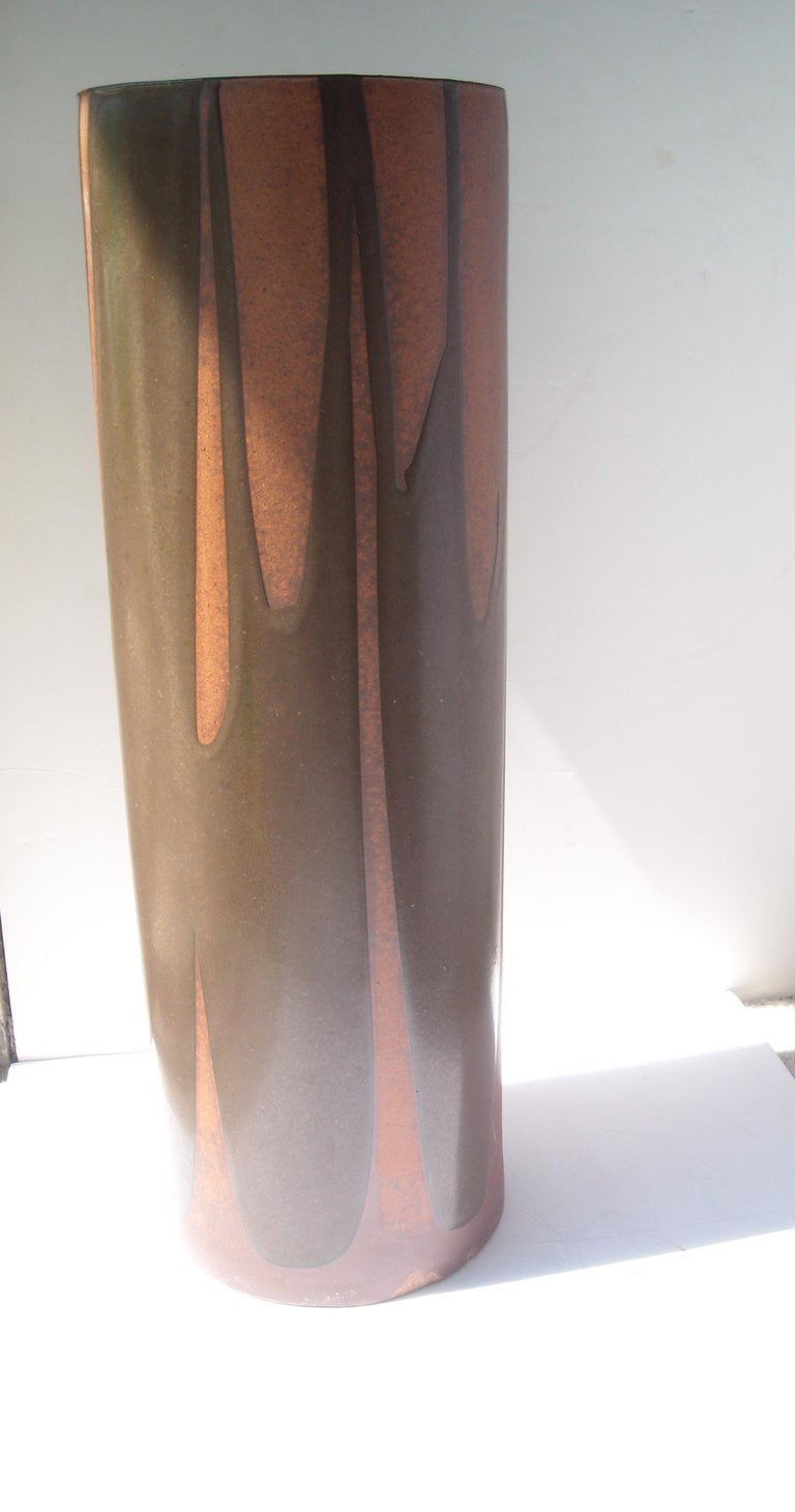 Late 20th Century David Cressey Rare Umbrella Stand or Vase, Artisan, Architectural Pottery, Flame For Sale