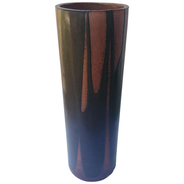 David Cressey Rare Umbrella Stand or Vase, Artisan, Architectural Pottery, Flame For Sale