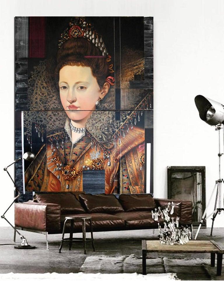 Maria Gonzaga of Lorraine, Royal style portrait w/ a modern, Oil on metal  For Sale 1