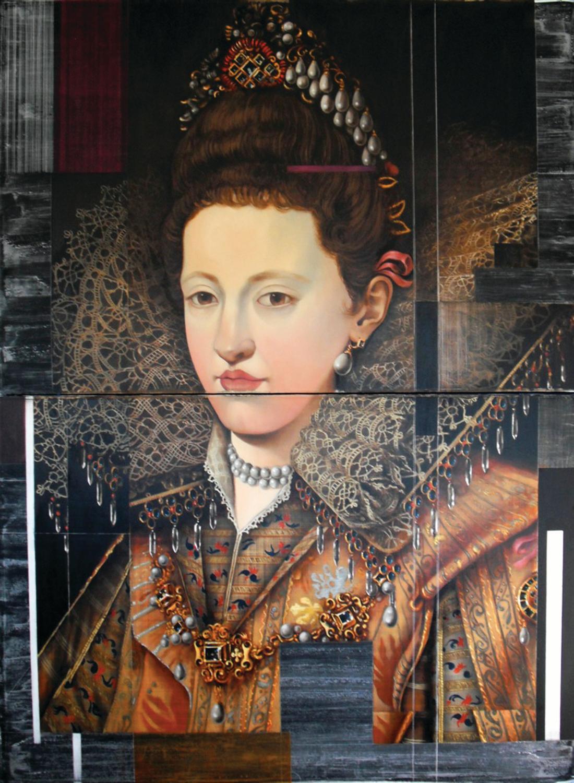 Maria Gonzaga of Lorraine, Royal style portrait w/ a modern, Oil on metal