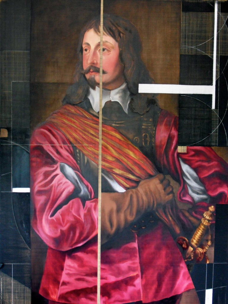 Sir John Mennes, Aristicratic portrait with a modern approach, Oil on metal  - Contemporary Painting by David Crismon