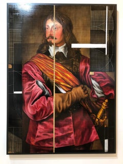 Sir John Mennes, Aristicratic portrait with a modern approach, Oil on metal