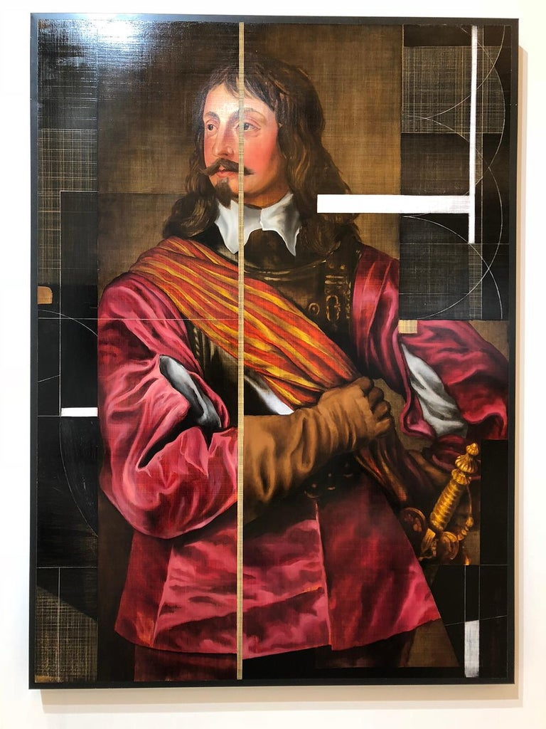 David Crismon Portrait Painting - Sir John Mennes, Aristicratic portrait with a modern approach, Oil on metal