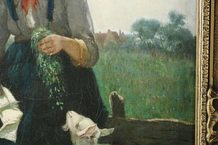 David de la Mar Dutch Barbizon Antique Painting of Girl Feeding Goats In Excellent Condition In Shippensburg, PA