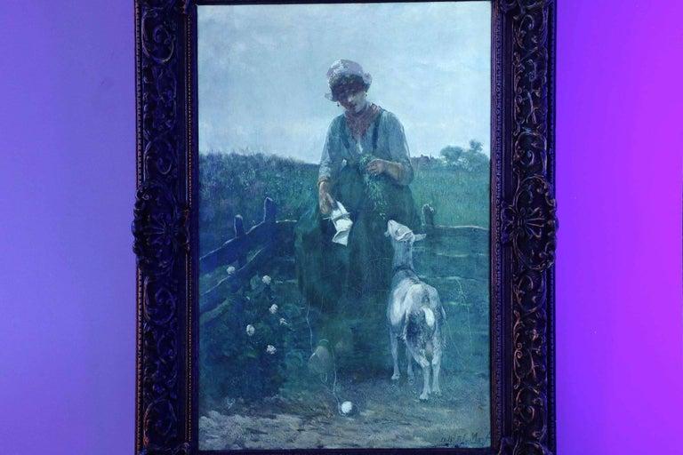 David de la Mar Dutch Barbizon Antique Painting of Girl Feeding Goats 3