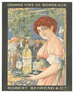 Grands Vins de Bordeaux original French wine vintage poster
