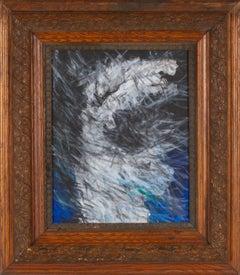 Nike Descending IV: Figurative Abstract Framed Oil Painting Greek Goddess Nike