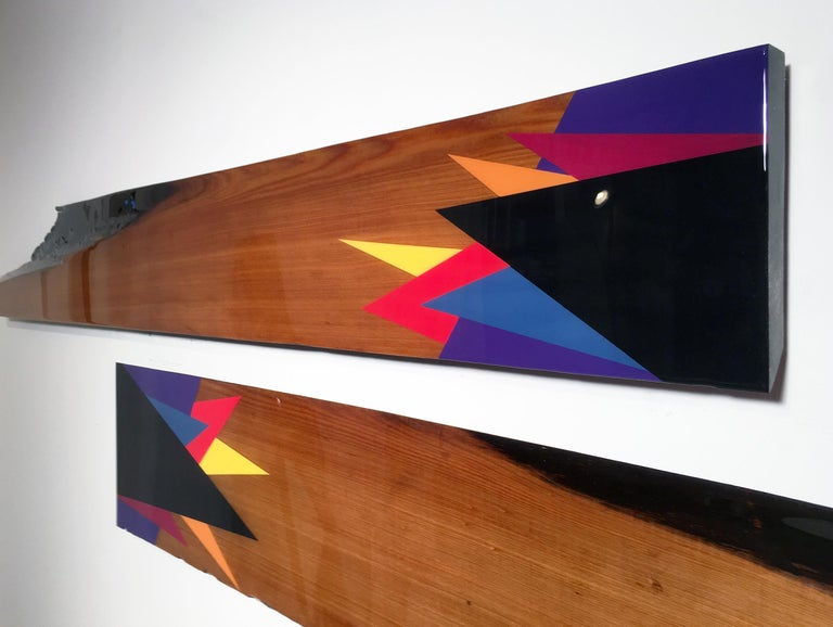 Leaner #55, David E. Peterson, Contemporary Colorful Wooden Wall Sculpture - Brown Abstract Painting by David E. Peterson