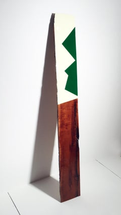Leaner 63, David E. Peterson, Contemporary Green & White Wooden Wall Sculpture