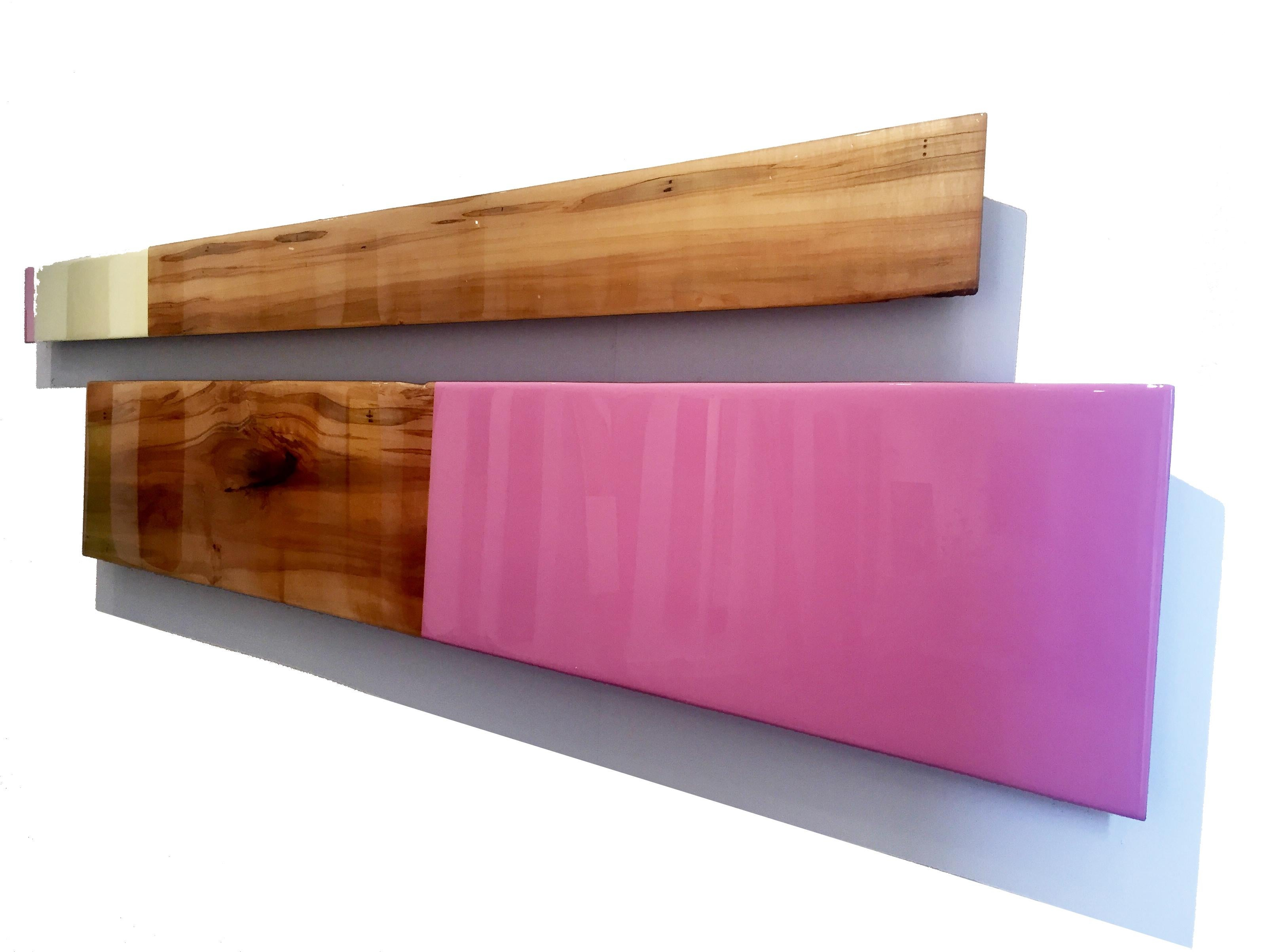 Leaner Set 2643, David E. Peterson, Contemporary Pastel Wooden Wall Sculpture