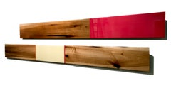 Leaner Set #3842, David E. Peterson, Contemporary Colorful Wooden Wall Sculpture