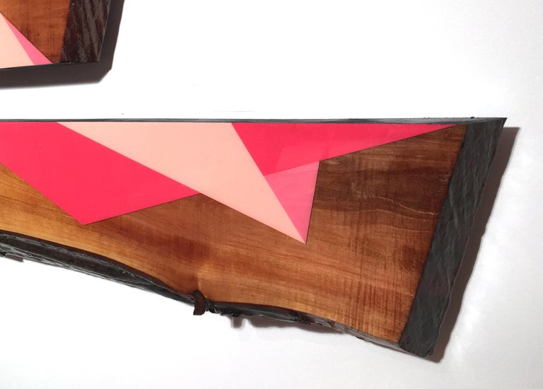 Leaner Set 5354, David E. Peterson, Contemporary Colorful Wooden Wall Sculpture For Sale 1