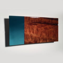 Mini Leaner #6, Contemporary Painted Blue Design Wall Sculpture with Exotic Wood