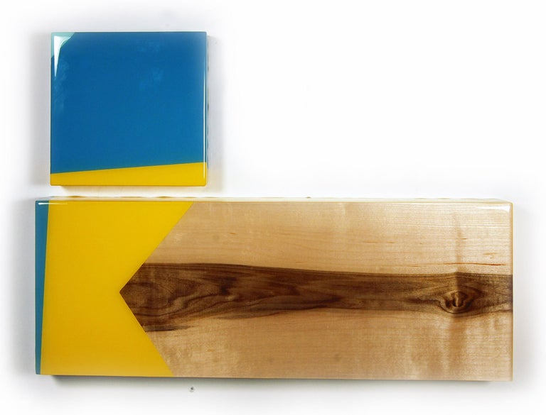 Puzzle 103, David E. Peterson, Contemporary Colorful Wooden Wall Sculpture - Brown Abstract Sculpture by David E. Peterson
