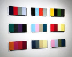 Quadraphonics, David E. Peterson, Colorful Contemporary 9 piece Wall Sculpture