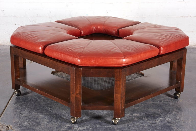 David Easton Brick Red Leather And Walnut Square Ottoman