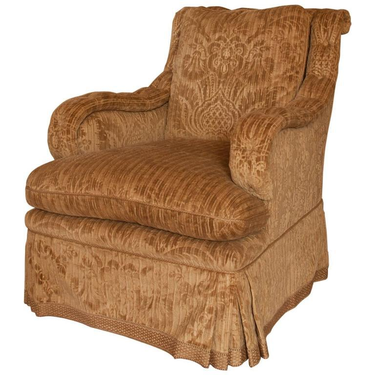 David Easton Gaufrage Velvet Club Chair In Excellent Condition For Sale In New York, NY