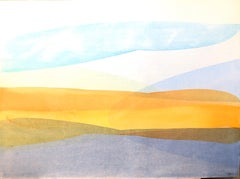 Abstract Expressionist Luminous Color field Watercolor Painting, David Einstein