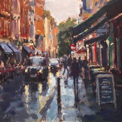 After the Rain, Soho, London original City landscape painting