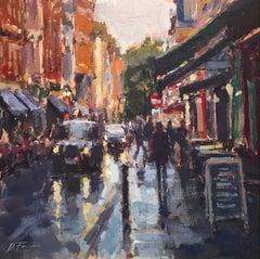 After the Rain, Soho, London - original Cityscape modern painting contemporary