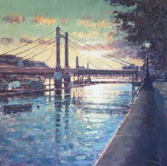 Albert Bridge at Sunset - original Cityscape painting Contemporary modern art