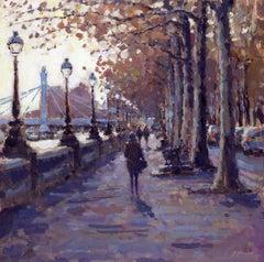 Autumn, Chelsea Embankment - Original cityscape painting Contemporary Art