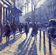 Blue Afternoon, Kings Road - Original cityscape painting Contemporary Art