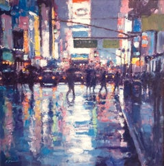 Blue Reflections - NY Times Square original cityscape USA painting buildings
