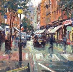 Crossing Monmouth Street original city landscape painting