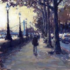 Evening, towards Albert Bridge - London Cityscape painting Contemporary Art
