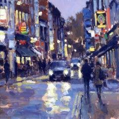 Friday Night, Frith Street, Soho - London Cityscape painting Contemporary Art