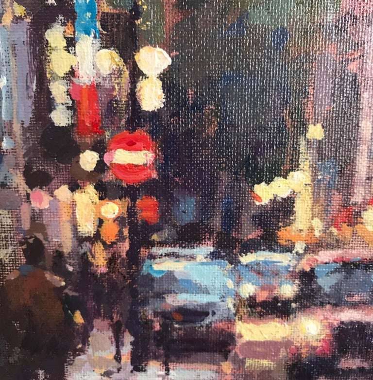 Greek Street Soho original City landscape painting Contemporary Impressionism 21 - Impressionist Painting by David Farren