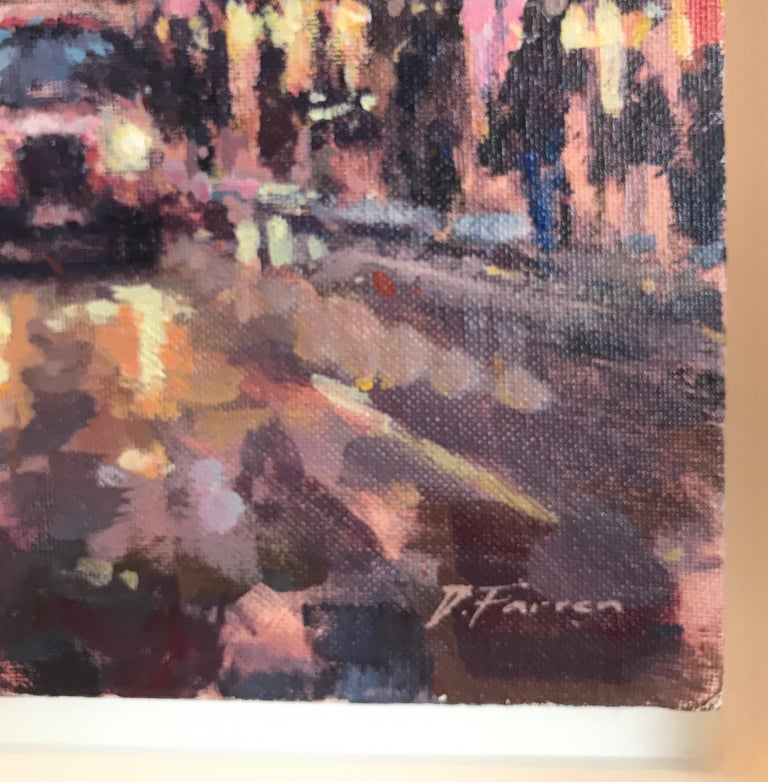 The original City Landscape painting by David Farren is framed, stringed and ready to be displayed. The colours used by the artist work together to capture the vibrancy and business of Soho, London.    David Farren is a contemporary impressionist