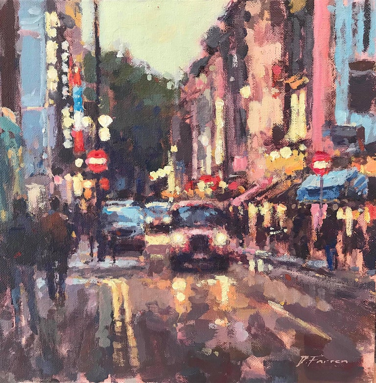 Greek Street Soho - original Cityscape painting Contemporary Impressionism 21 - Painting by David Farren