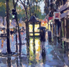 News stand Reflections Paris  original City landscape painting