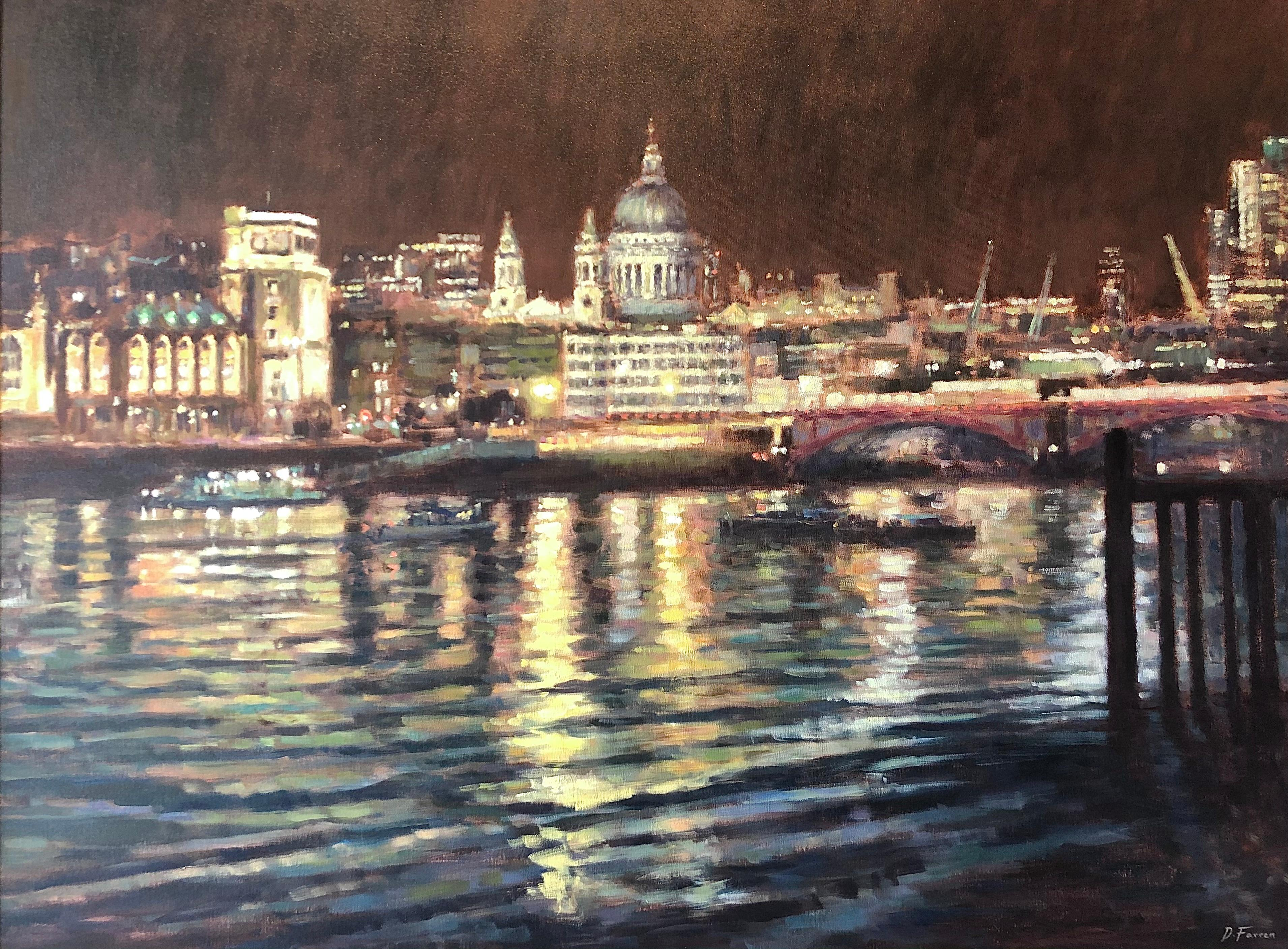 Night Fall St Paul's - London landscape cityscape painting modern Contemporary
