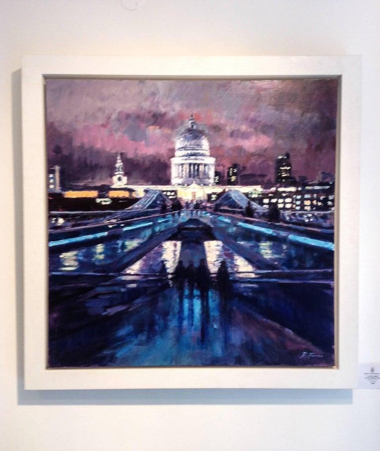 Night Sky, Millennium Bridge - city London UK Landscape painting contemporary  - Painting by David Farren