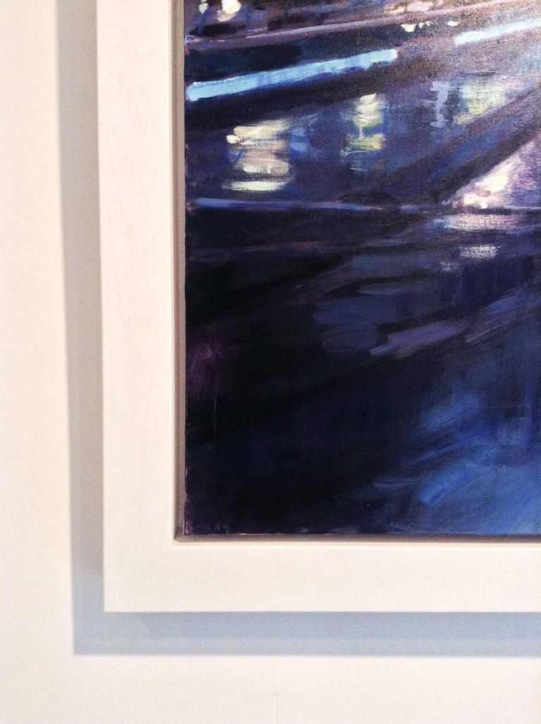 Night Sky, Millennium Bridge - city London UK Landscape painting contemporary  - Impressionist Painting by David Farren