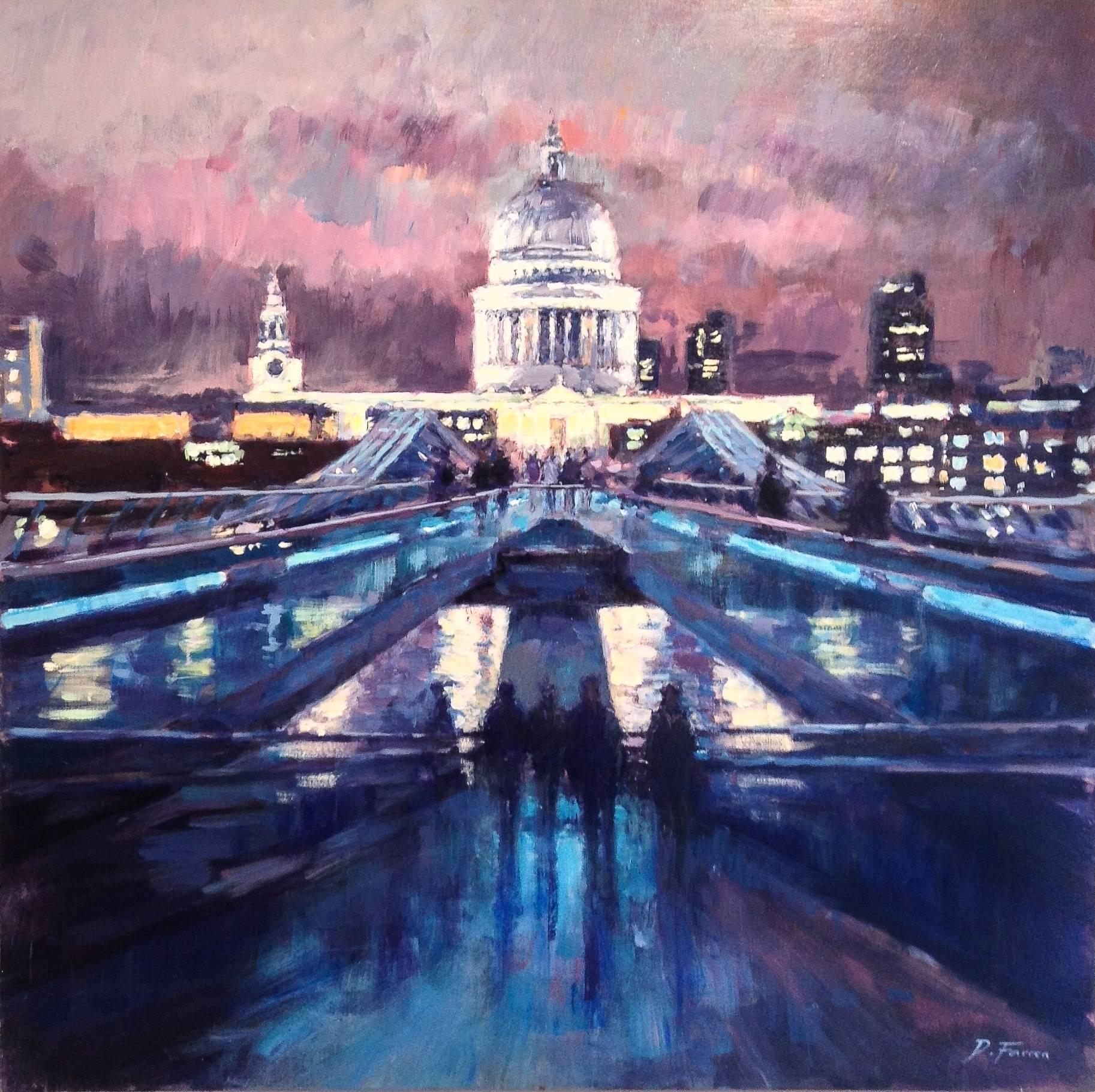 Night Sky, Millennium Bridge - city London UK Landscape painting contemporary