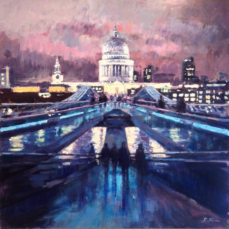 David Farren Abstract Painting - Night Sky, Millennium Bridge - city London UK Landscape painting contemporary