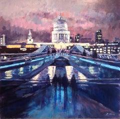 Night Sky, Millennium Bridge - original landscape painting contemporary art