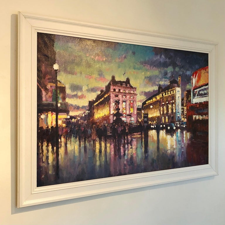 Nightfall, Piccadilly Circus - London cityscape modern Contemporary art  - Painting by David Farren