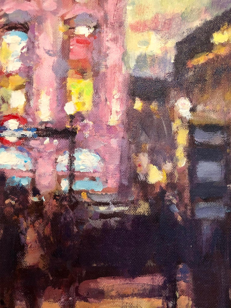 Nightfall, Piccadilly Circus - London cityscape modern Contemporary art  - Gray Abstract Painting by David Farren
