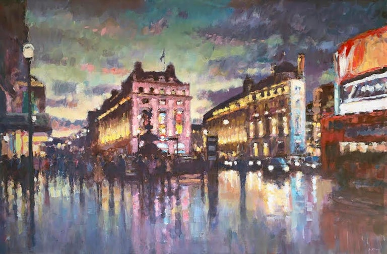 David Farren Abstract Painting - Nightfall, Piccadilly Circus - London cityscape modern Contemporary art