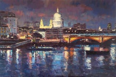 Nightfall, St Pauls  original landscape painting Contemporary Art 21st Century