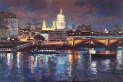 Nightfall St Paul's UK original cityscape painting Contemporary Art 21st Century