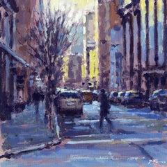 Quiet Winter Morning New York  original City landscape painting
