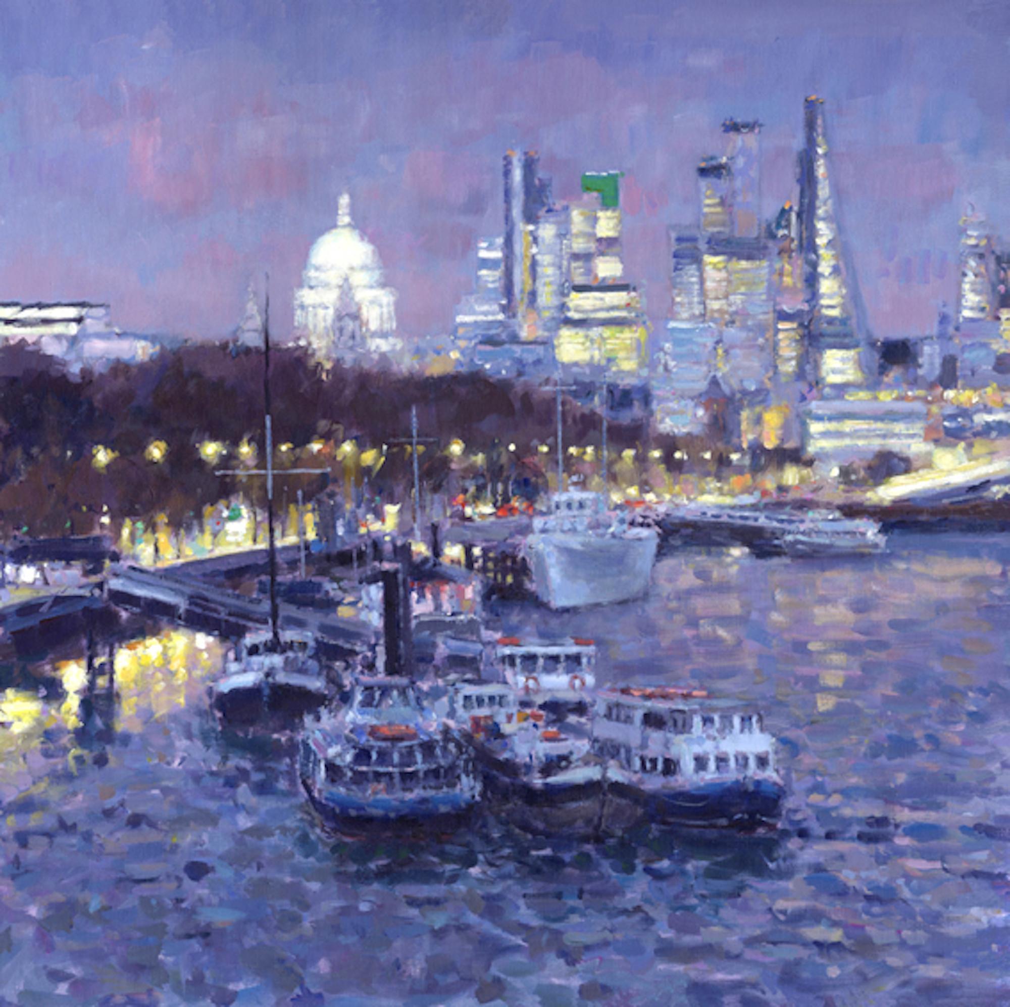 River Thames at Dusk - river landscape painting impressionist contemporary