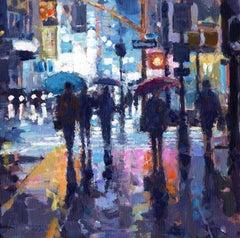 Sidewalk Rain, NY original City landscape painting Contemporary Impressionism Ar