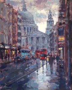 St Paul's Reflection London - Original City Landscape painting Contemporary Art